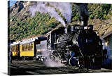 Canvas On Demand Premium Thick-Wrap Canvas Wall Art Print entitled Durango and Silverton Narrow Gauge Railroad steam train at station 48''x32''