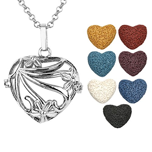 JOVIVI Antique Silver Aromatherapy Essential Oil Diffuser Necklace Flower Heart Locket Pendant with 7 Dyed Multi-Colored Lava Stones