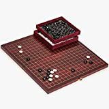 Go Game Set with Folding Dark Cherry Veneer, Rosewood Go Board and Melamine Stones