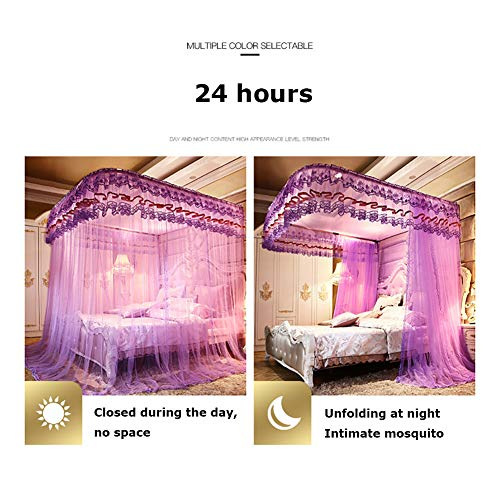360° Fly Insect Mosquito Net Bed Canopy Lace Edge Polyester U-Rail Protection Net Tent Indoor Decorative,Jadecolor,180200CM by LINLIN MOSQUITO NET (Image #4)