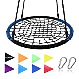 Giant 40'' Spider Web Tree Swing in Blue/Black, Ultra Strong Steel Frame, Industrial Grade Rope, Super Easy Instructions, Hangs In Seconds, No Assembly, Non-Stop Fun, Great For Kids and Parties! …