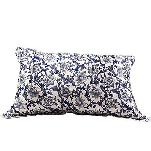 IBraFashion Silk Pillowcase for Hair and Skin Beauty Women Natural Silk Pillowcase Standard/Queen Blue and White Porcelain Pattern (Pillowcase Standard Pattern)