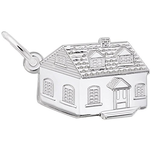 House Charm In Sterling Silver, Charms for Bracelets and Necklaces (Silver Charm House Sterling)