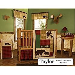 Trend Lab Baby Nursery Bedding Ensemble Set PLUS Personalized Name Decal, Northwoods, 8pc Set