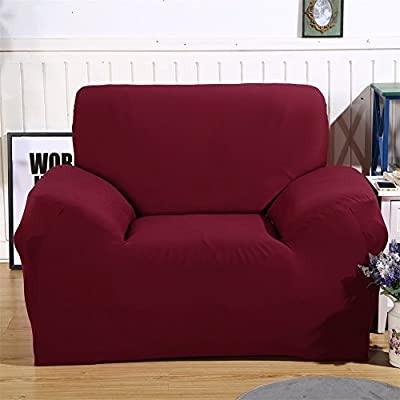 Stretch Arm Chair Cover - Sofa Covers Slipcover Sofa - 1-Piece 1 2 3 4 Seater Furniture Protector Polyester Spandex Fabric Armchair Slipcover With a Pillow Cover for Children and Pets Red