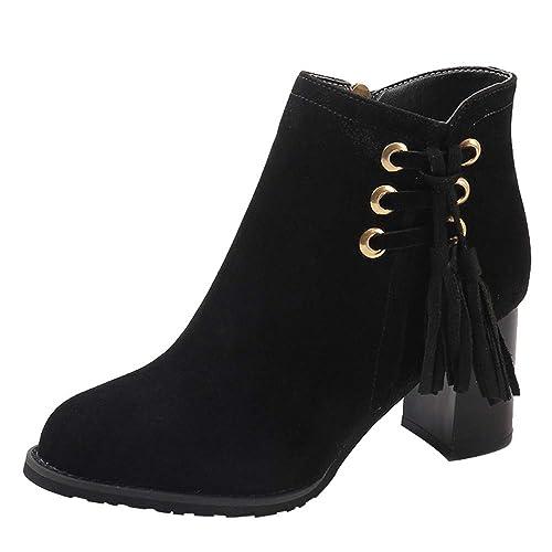 c79da18a Logobeing Botines Mujer Tacon Moda Mujer Punta Redonda Zapatos de Tacón  Alto Borla de Gamuza Cuñas