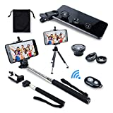 AFAITH 6 in1 Camera Lens Kit Fish Eye Lens + Wide Angle /Macro Lens + Shutter Release +Self Stick Monopod + Adapter Phone Holder + Mini Tripod for iPhone 7 /7 plus, Samsung Galaxy S7, S8 Smartphones