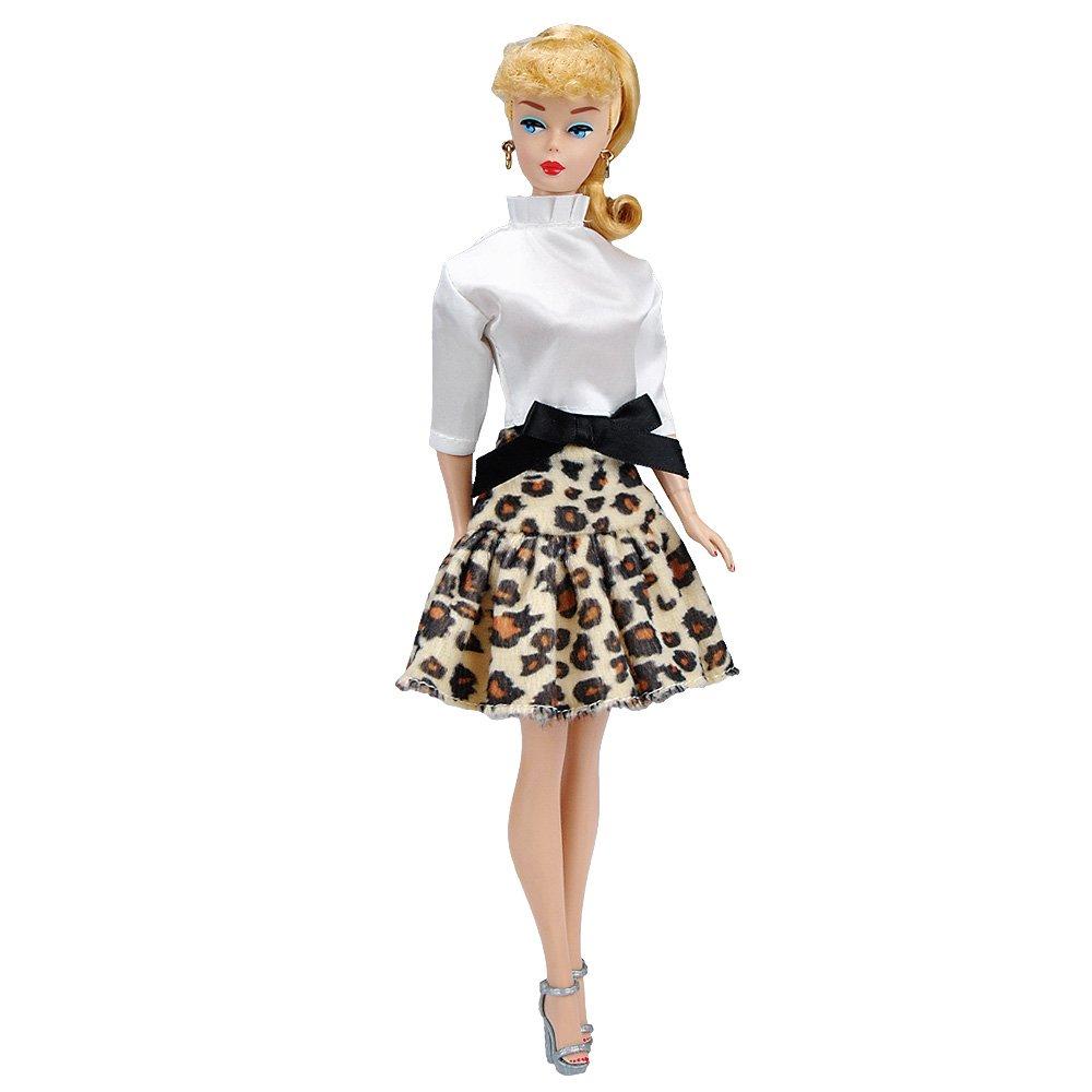 E-TING Fait Main Mode Poupée Vêtements Jupe Bureau Style Robe pour poupée Femelle(Chemise Satin Blanche + Jupe Courte Léopard)(Poupée et Chaussures Non incluses)