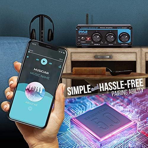 Bluetooth HiFi Mini Audio Amplifier – Class D Digital Desktop PC Stereo Amplifier Receiver (2 x 100 Watt MAX) Aluminum Diecast- Pyle PDA20BT 51 2B65uwji9L