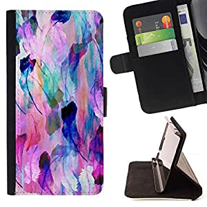 For Samsung ALPHA G850 Nature Feather Pastel Art Colors Beautiful Print Wallet Leather Case Cover With Credit Card Slots And Stand Function
