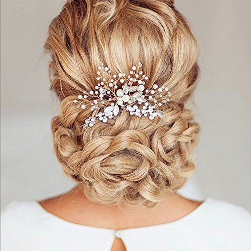 Price comparison product image Unicra Vintage Wedding Hair Combs with Bead and Rhinestones(Gold Color)