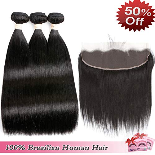 Beauhair Brazilian Straight Hair 3 Bundles With Frontal Closure 13×4 Ear To Ear Lace Frontal With Bundles 100% Unprocessed Virgin Human Hair Extensions Weave Natural Color (20 22 24+18Frontal)