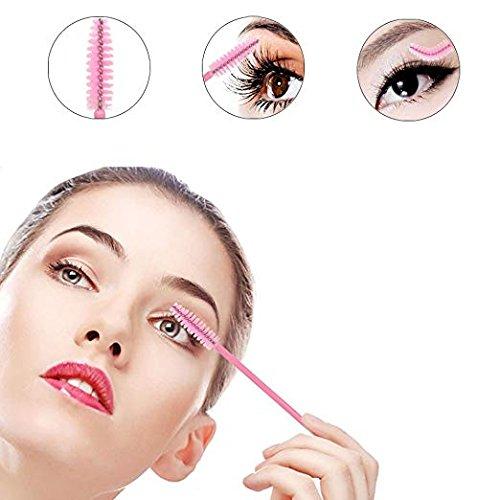 3x100 Packs- Under Eye Pads Lint Free Lash Extension Eye Gel Patches & Eyelash Mascara Brushes Wands Applicator Makeup Brush (300pck) by XIAOYA (Image #2)