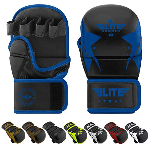 Elite Sports MMA Grappling Gloves (Blue, Large/X-Large)