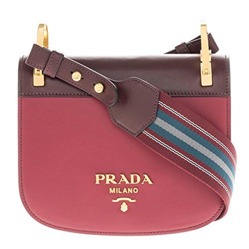Prada Women's 'Pionnière' Bi-Color Bag Red + - Burgundy Pradas
