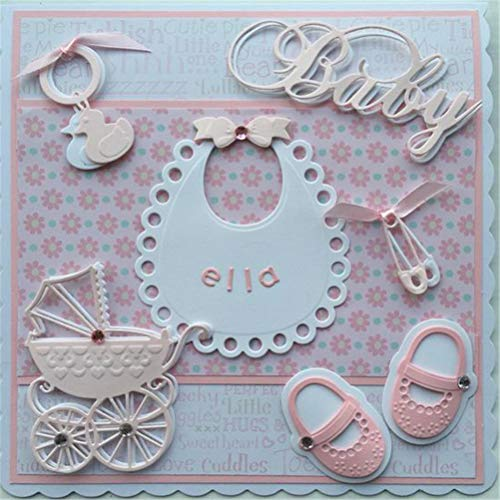 Shower Scrapbooking Baby Cards - VT BigHome Decorative Baby Shower Stencils Die Cut Small Contours Metal Cutting Dies for DIY Scrapbooking Photo Album