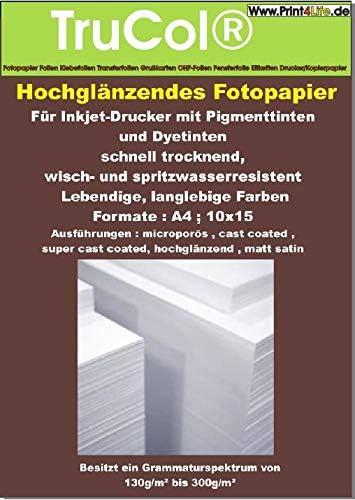 50 hojas de papel fotográfico A4 240g / m² de alto brillo. Se ...