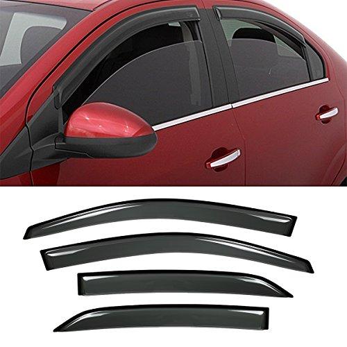 VioGi New 4pcs For 09-13 Toyota Corolla 4Dr Sedan Dark Smoke Out-Channel/Outside Mount Style Wind Sun Rain Guard Vent Shade Deflector Window Visors