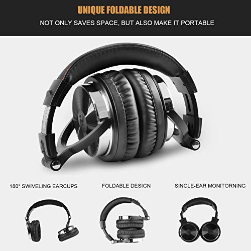 OneOdio Adapter-Free Closed Back Over Ear DJ Stereo Monitor Headphones, Professional Studio Monitor & Mixing, Telescopic Arms with Scale, Newest 50mm Neodymium Drivers – Black