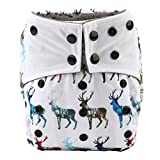 night inserts - Sigzagor Baby AIll In One Night AIO Cloth Diaper Nappy Sewn In 5 Layer Insert Reusable Washable (3D Deers)