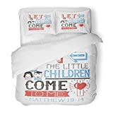 SanChic Duvet Cover Set Baby Hand Lettering Let the Little Children Come to Me Biblical Christian Modern Calligraphy Babyish Decorative Bedding Set with 2 Pillow Shams Full/Queen Size
