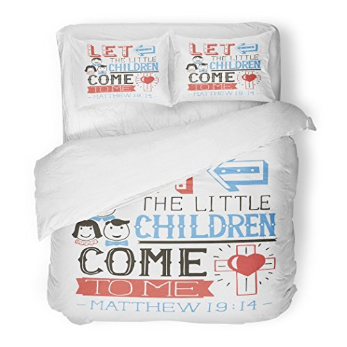 SanChic Duvet Cover Set Baby Hand Lettering Let the Little Children Come to Me Biblical Christian Modern Calligraphy Babyish Decorative Bedding Set with 2 Pillow Shams Full/Queen Size by SanChic
