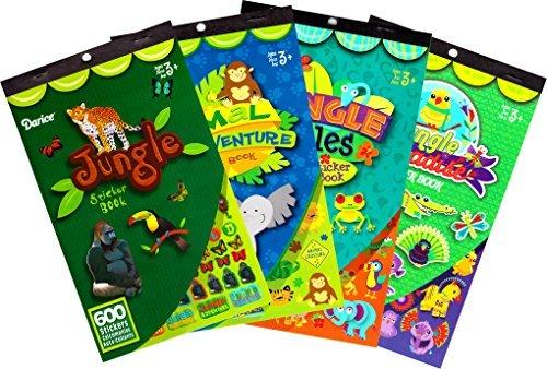 Darice Jungle Animals Assorted Sticker Books for Kids - 4 Books 1170 Stickers