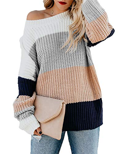 - HZSONNE Women's Casual Color Block Chunky Stripe Cable Knitted Crew Neck Loose Pullover Sweaters Jumper Tops (Pink, Large)