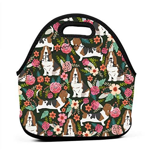 Lunch Box Lunch Pail Organizer for Men/Girls/Outdoor/Work, Leakproof Lunch Organizer Premium Handbag Portable Snacks Organizer, Basset Hound Dog Floral