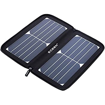 ECEEN Folding Solar Panel Phone Charger With USB Port,Zipper Pack for iPhone, iPad, iPods, Samsung, Android Smartphones Speaker Gopro All 5V USB-Charging Devices (Black)