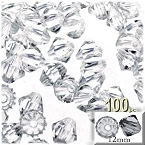 The Crafts Outlet, 100-pc Acrylic Bicone Beads, Faceted, 12mm, Clear