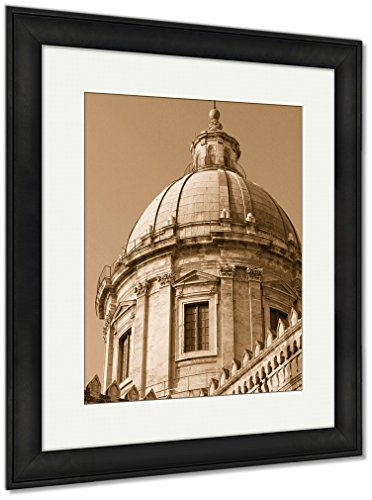 Canvas Outdoor Sunset Island (Ashley Framed Prints Italy Sicily Island Palermo City Cathedral At Sunset, Wall Art Home Decoration, Sepia, 40x34 (frame size), Black Frame, AG5537338)