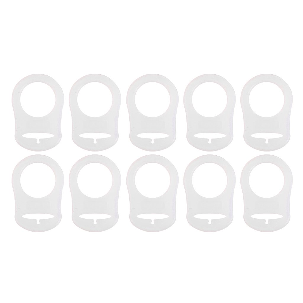 10pcs Silicone Button Ring Dummy Pacifier Holder Clip Adapter White MagiDeal STK0155004781
