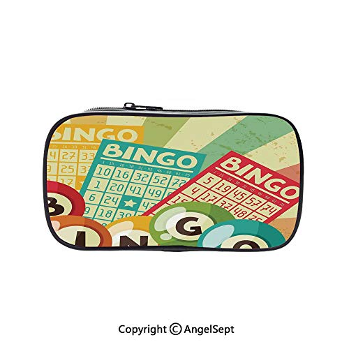 Pencil Holder with Handle Strap Handy Colored,Bingo Game with Ball and Cards Pop Art Stylized Lottery Hobby Celebration Theme Multi 5.1inches,Large Capacity Students Stationery]()