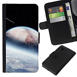 KLONGSHOP // Tirón de la caja Cartera de cuero con ranuras para tarjetas - Extranjero Ducha Planetas Meteor Stars Espacio Cosmos - LG Nexus 5 D820 D821 //