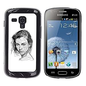 Samsung Galaxy S Duos S7562 , JackGot - Impreso colorido protector duro espalda Funda piel de Shell (Mujer Hermosa Sketch Negro Blanco)