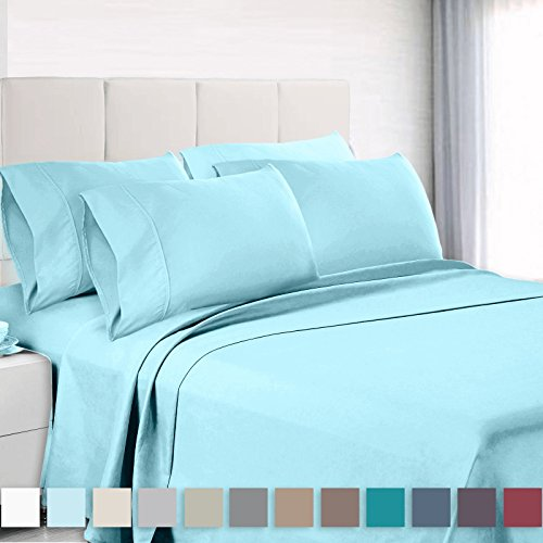 - Empyrean Bedding 6 Piece Set - Hotel Luxury Silky Soft Double Brushed Microfiber - Hypoallergenic Wrinkle Free Bed Sheets - Deep Pocket Fitted Sheet, Top Sheet, 4 Pillow Cases, Full - Light Baby Blue