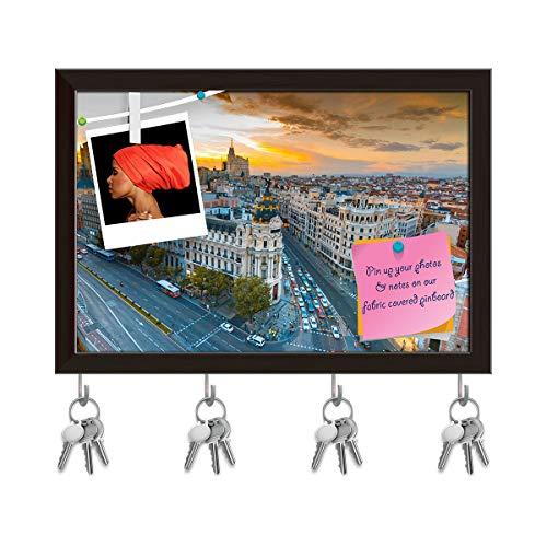 (Artzfolio Panoramic View of Gran Via Street in Madrid, Spain Key Holder Hooks | Notice Pin Board | Dark Brown Frame 14.5 X 10Inch)