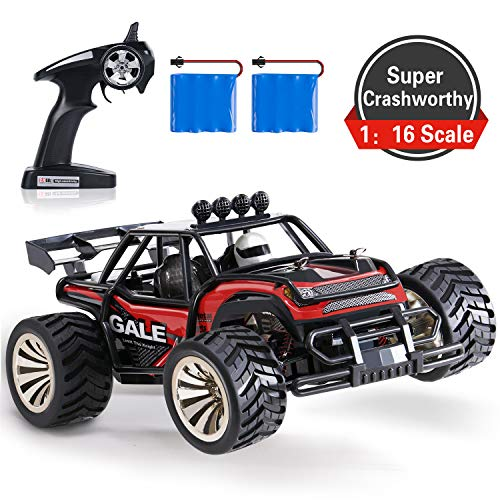 SGILE RC Car, 2.4Ghz Racing Cars - 1:16 Off-Road Vehicle Crawlers, 15km/H High-Speed Fast Car Toy, 2WD Electric Truck Climber with 2 Rechargeable Battery Racing Start for Kids Adults, Red