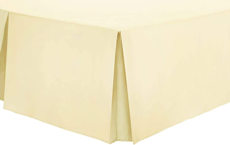 Sábana con faldón plisada lisa teñida de polialgodón, 40 cm, crema, Doublé