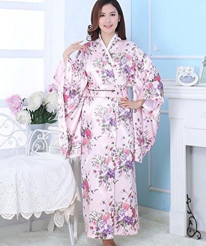 ZC&J Damas temperamento transpirable kimono moda sedosa bata albornoz alta calidad pijamas cómodos,blue,one size Pink