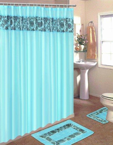 Rideau de douche Design Dynamix maison et ensemble de tapis de bain : HE15F Floral esquissé bleu-brun : 15 bain ensemble de pièces