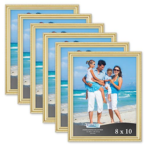 Icona Bay 8x10 Picture Frames (6 Pack, Gold) Picture Frame Set, Wall Mount or Table Top, Set of 6 Inspirations ()