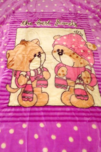 New Best Friends Teddy Bear Design Pink Polka DOT Plush Mink Baby Blanket Throw