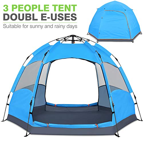 Victostar Instant Pop Up Family Camping Tent,Double Layer Waterproof 3 Season for Picnic Fishing Hiking Traveling (Blue, 4-Person)