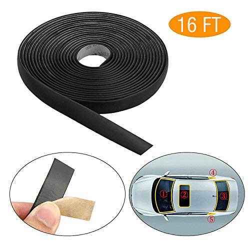 EEEKit 5M/16FT Auto Seal Weather Stripping Rubber Sealing Strip Trim Cover for Car Front Rear Windshield ()