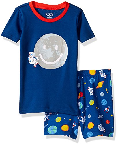 The Children's Place Baby Boys Top and Shorts Pajama Set, Moon Inked 77314, 18-24 Months