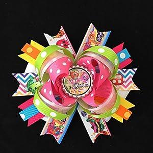 shopkins hair bow-large shopkins hair bow-over the top shopkins hair bow-boutique grosgrain shopkins bows-shopkins party favor-shopkins handmade hair bow-shopkins hair clip