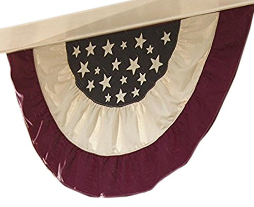 Plow & Hearth 83699 Large Half Round Patriotic Vintage Style Americana Flag with Embroidered Stars, 60.5