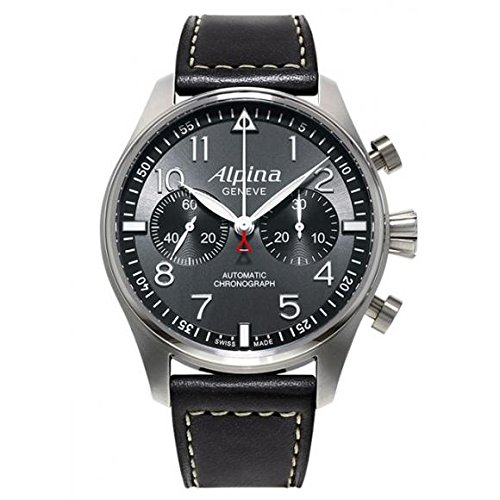 Alpina Startimer Pilot Automatic Chronograph Anthracite Dial Black Leather Mens Watch AL860GB4S6